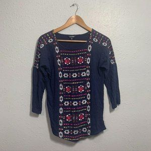 Lucky Brand Embroidered Multicolor Top Size S